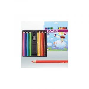 مداد رنگی 12 رنگ پیکاسو مدل jumbo به همراه تراش