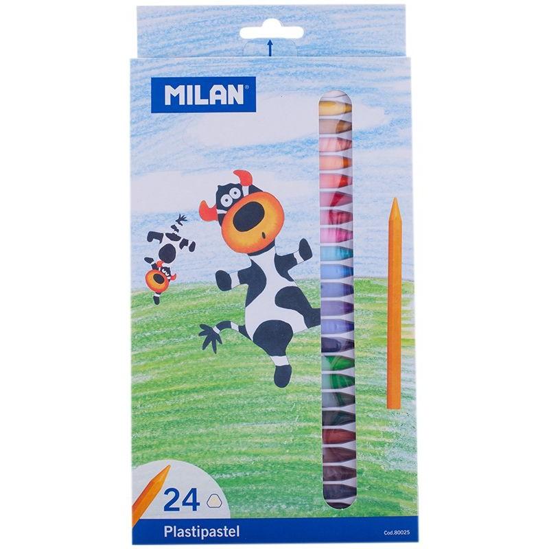 مداد شمعی 24 رنگ میلان