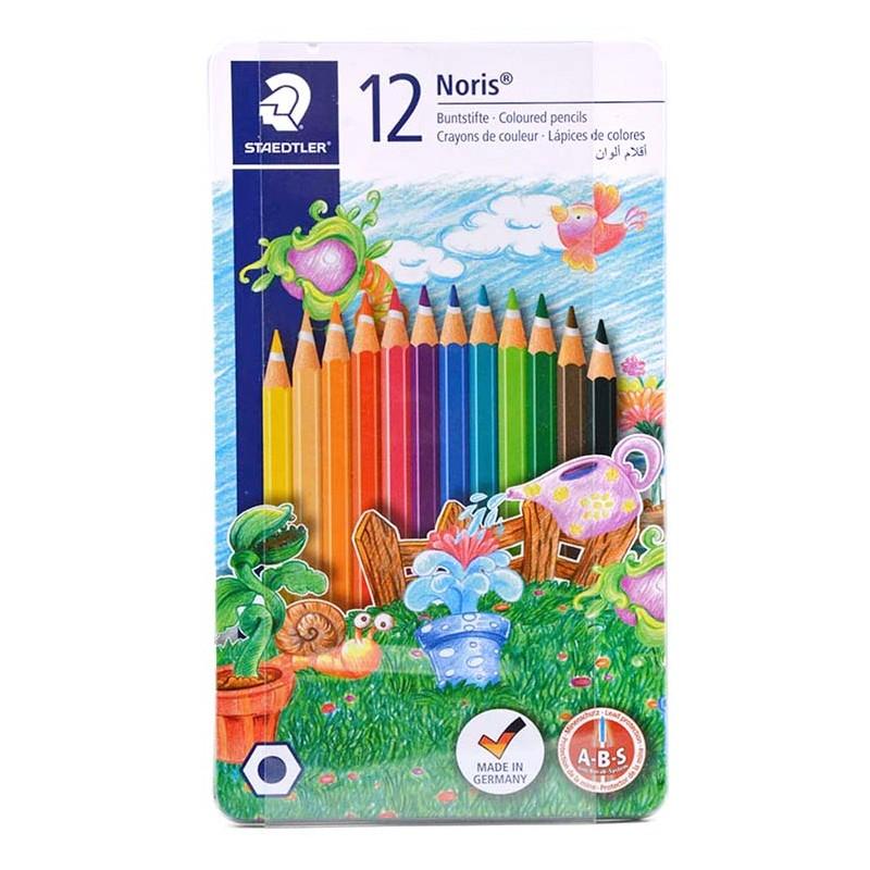 مداد رنگی استدلر جعبه فلزی مدل نوریس 12 رنگ