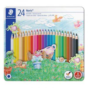 مداد رنگی استدلر جعبه فلزی مدل نوریس 24 رنگ