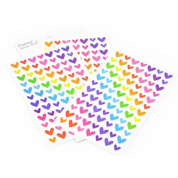استیکر فانتزی-طرح قلب هفت رنگ