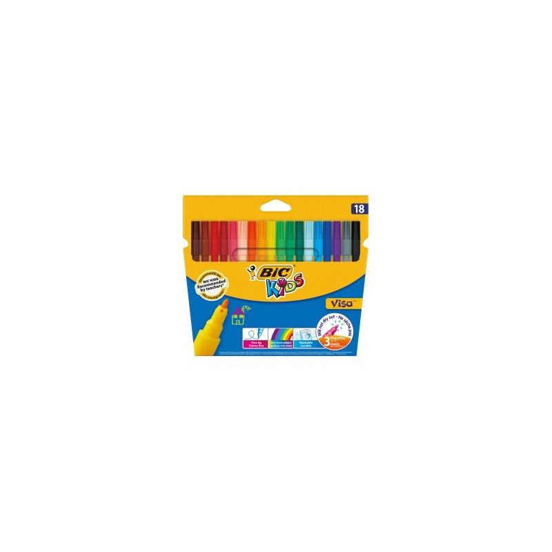 ماژیک رنگ آمیزی بیک سری Kids مدل Visa - بسته 18 رنگ